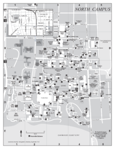 North campus map with grid