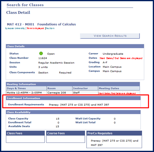 Screenshot of MySlice Class Details with Course Requirements section highlighted