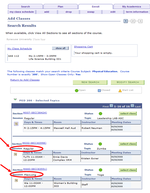 screenshot displaying visibility of session in class search results