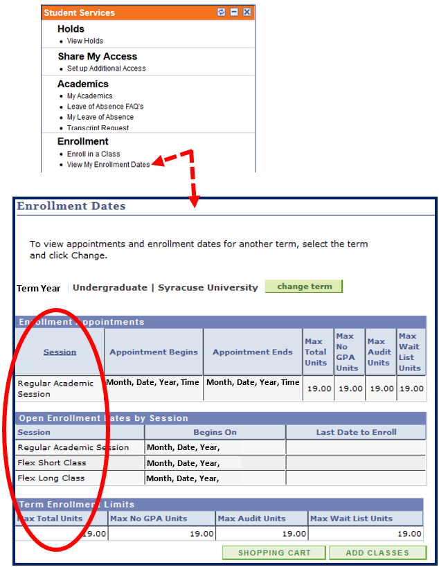 Example of Student Services menu - view my Enrollment Dates, Session column highlighted to show distinction between Sessions