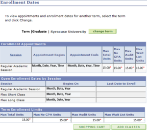 Graduate Enrollment Dates Panel - Screenshot