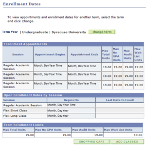 Sample Undergraduate Enrollment Dates Panel - Screenshot