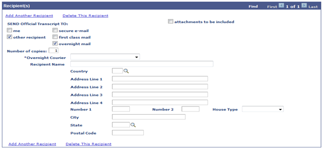 enter recipient overnight info