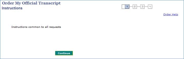 Screenshot - Order My Official Transcript - Continue Button