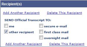Screenshot - Recipient Designation Details (secure e-mail, 1st class mail, overnight mail)