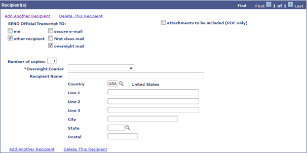 Screenshot - Recipient Designation - Courier Selection and Address Entry