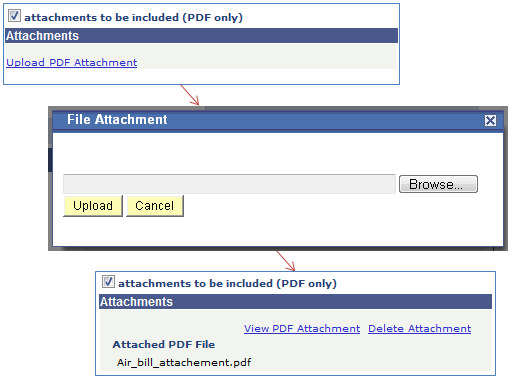 Screenshot - Recipient Designation - Attachments Checkbox, click Upload PDF Attachment, Browse, Upload, Then Review