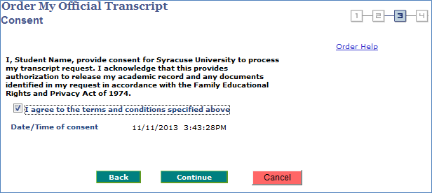Screenshot - Order my Official Transcript - Consent Step, Agree Check box, Back, Continue, and Cancel Buttons